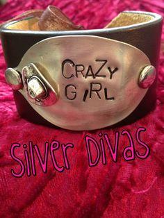 Crazy Girl vintage spoon and recycled western belt bracelet $30. Find us on Facebook!