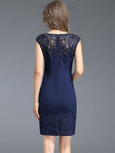 Buy Chic O-Neck Embroidery Mesh Stitching Bodycon Dress with High Quality and Lovely Service at DressSure.com