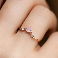Rose Gold Vermeil ring featuring pink opal and light pink CZ stones. Dainty ring exclusive design by Girls Crew for Local Exclusive, perfect for stacking. Cute Promise Rings, Cute Rings, Pretty Rings, Opal Promise Ring, Simple Rings, Dream Engagement Rings, Crystal Engagement Rings, Accesorios Casual, Henna Tattoos