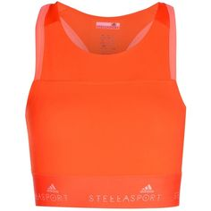 Adidas Stella Sport Top ($35) ❤ liked on Polyvore featuring activewear, coral, adidas activewear, logo sportswear, adidas, adidas sportswear and sports activewear