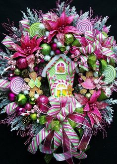 XL Gingerbread House Christmas Wreath Created by UpTownOriginals. This should be called Candy Land Christmas Wreath. Candy Land Christmas, Noel Christmas, Pink Christmas, All Things Christmas, Xmas, Christmas Ornaments, Beautiful Christmas, Handmade Christmas, Christmas Decorating Ideas