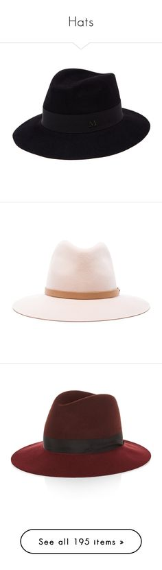 """""""Hats"""" by musicmelody1 on Polyvore featuring accessories, hats, black, felt crown, felt hat, maison michel hats, crown hat, maison michel, wool hat and floppy fedora hat"""