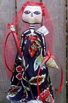 Day of The Dead Doll Primitive Folk Art Tree Topper. $40.00, via Etsy.