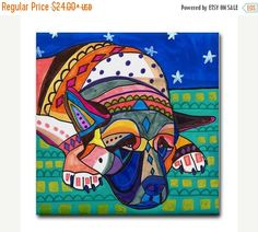 45% Off Sale- Akita Art Tile Ceramic Coaster Mexican Folk Art Print of painting by Heather Galler (HG114)