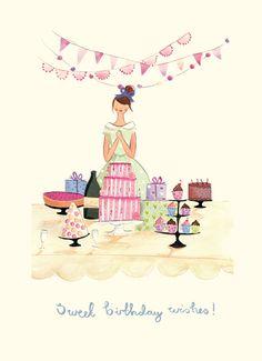 Greetings Cards - new work - Emma Block Illustration Birthday Wishes Cake, Birthday Quotes, Happy Birthday Images, Happy Birthday Greetings, Twin First Birthday, It's Your Birthday, Facebook Birthday, Art Carte, Art Et Illustration