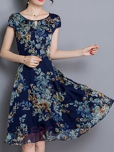 Ericdress Floral Print Short Sleeve Round Neck Hollow Casual Dress Casual…