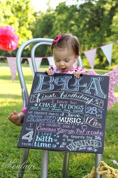 Birthday Photo Shoot Idea -- personalized signs from Moulage Collection on Etsy. Posters look like chalk on a chalkboard but they are actually made using permanent metallic ink on black foam core. Lightweight enough for small children to hold. (I know he's already had his 1st bday but this is adorable!!!)