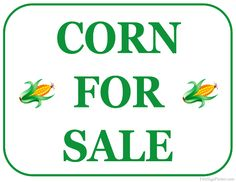Printable Corn For Sale Sign