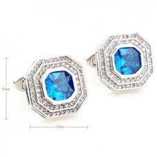 Aquamarine Blue Platinum Plated Diamond Cufflinks