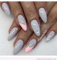 Grey nail polish with pink and silver glitter detail