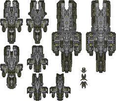 Hayreddin Industries top-down spaceships. Pixelart. Softfractalworks