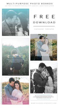 FREE Photoshop templates - multipurpose photo boards - promote on pinterest, blog, instagram, newsletters or sneak peeks