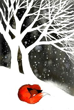 Talvipuut teippiä/kontaktia maskina käyttäen. Suolalla tähtiä märälle vesivärille. Etualan hangelle jokin talvinen pörröturkki.