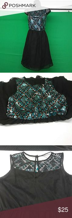Beautiful sequence dress Teal and gold sequence dress lace back used but in great condition love reign Dresses