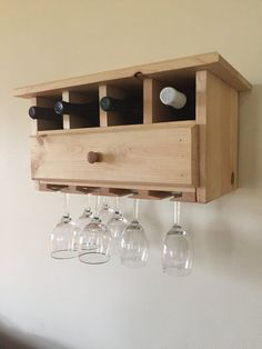 Estante del vino del colgante de pared con por Wood4TheWedding