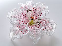 Beadwoven lily brooch by Handmade Beaded Corsage, a Japanese maker of fine beaded pieces.