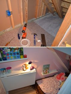 Kids Art room and reading nook under the stairs Under Stairs Playroom, Under Stairs Playhouse, Closet Under Stairs, Space Under Stairs, Basement Closet, Basement Remodel Diy, Under Stairs Cupboard, Basement Remodeling, Playroom Closet
