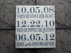 CUSTOM Relationship / Wedding Timeline Hand Painted Wood Sign by TheBeesKneesOhio, $35.00