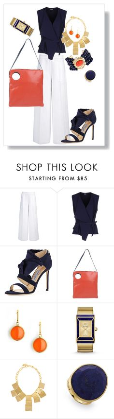 """""""A Navy & Orange Frame of Mind"""" by anitamauro ❤ liked on Polyvore featuring Joseph, Mantù, Jimmy Choo, Jil Sander Navy, Syna, Tory Burch, Kenneth Jay Lane and Marco Bicego"""
