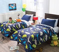 "New ""Dinosaurs"" Lightweight Reversible Comforter Twin Nyr..."