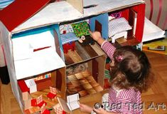 "How to... Make A Cardboard Dolls House - Red Ted Art's Blog. Also some posts about making furniture and further ""re-models"". Sweet!"