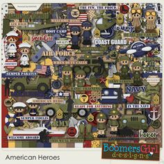 """BoomersGirl Designs: """"American Heroes"""" Digital Kit - Includes all five branches of the US military!"""