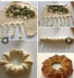 Make a basic bread dough, add fillings, braid up like photo. How To Make Bread, Food To Make, Buffet Party, Bread Shaping, Bread Art, Braided Bread, Snacks Für Party, Bread And Pastries, Food Decoration