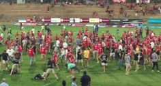 A violent scene unfolded Monday at the University of the Free State in South Africa when African students and workers disrupting a rugby match were attacked