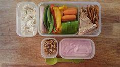 Dipper lunch! Veggies, pretzel crisps and pita bread with a homemade artichoke dip.  Yogurt and granola for snack