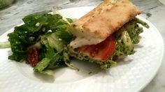 Pesto Chicken Sandwich with Fresh Mozzarella and Tomato on Ciabatta with Salad