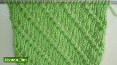 Punto (puntada) LINEAS en DIAGONAL. Knitting. Tejido con dos agujas # 247