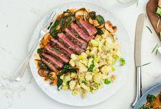 Healthy Beef recipe   Venison steak, sautéed leeks & mash
