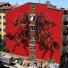 Argentinian JAZ (Franco Fasoli) Latest Piece in Istanbul, Turkey Red Street Art Urban Decay Graffiti Turkish Banksy 3d Street Art, Murals Street Art, Amazing Street Art, Best Street Art, Street Art Graffiti, Street Artists, Red Street, Pintura Graffiti, Graffiti Painting