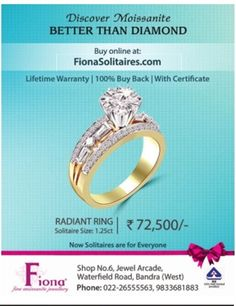 ‪#‎moissanite‬ Jewellery better than diamonds by #FionaMoissanite , lifetime warranty , 100% buy back , with certificate ‪#‎waterfieldroad‬. Check out more updates on www.jewellerscheck.com