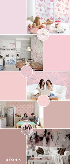 Powder Pink Wall Murals ✓ Eco-Friendly ✓ Online Configuration ✓ We will help you choose a pattern! Pink Walls, Powder Pink, Different Shapes, Wall Murals, Kids Room, Black And Grey, Rainbow, Interior, Pattern