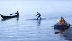 Rowing around the midsummer bonfire