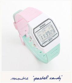 """""""Pastel candy [Montre] 18.00€ Une montre aux couleurs pastel, mais au design totalement 80's ! Bracelet en silicone souple et réglable, étanche (20 ATM), fonction alarme, chronomètre et même un bouton pour éclairer le cadran et voir l'heure dans le noir... Elle a tout pour elle ! """" Dimensions du cadran : 3,4 x 3,8 cm http://www.suicidalshop.fr/catalog/product_info.php?cPath=84_id=2696=3a29e2fc2a8aaedd3c82b0cb1513c189"""