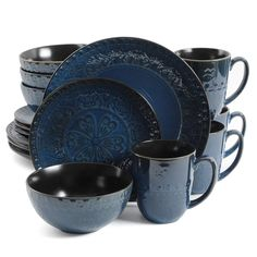 Blue Dinnerware Sets, Stoneware Dinnerware Sets, Casual Dinnerware, Tableware, Dinnerware Ideas, Dinnerware Sets Walmart, Classic Dinnerware, Kitchenware, Dinner Bowls