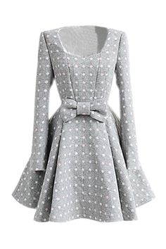 White Dots Grey Bowknot Dress cute dress for fall/winter ... wear some colorful tights underneath and a matching bow in your hair and you're good to go!
