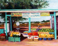 Cityscape Pastel - Produce Stand by Candy Mayer Painting For Kids, Art For Kids, Produce Stand, Southwestern Art, Farm Stand, Building Art, Farm Party, Roadside Attractions, Religious Icons