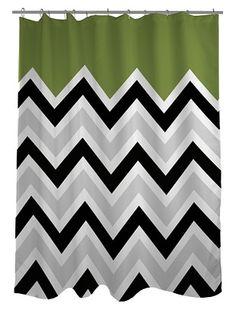 43% OFF One Bella Casa Chevron Solid Shower Curtain, Black/White/Green