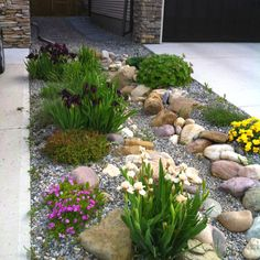 Love the look of this for the front entry! :)     Dry riverbed rock garden. Zone 3 (image only)