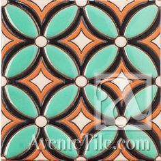 "Geometrical Petals E 6"" x 6"" Hand Painted Ceramic Tile"
