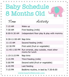 Sample Baby Food & Sleep Schedule - For 8 Month Old Baby