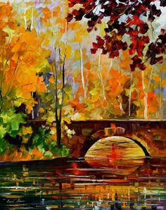 Large Artwork For Wall Fall Scenery Painting By Leonid Afremov - The Link To Autumn Leonid Afremov Autumn Painting, Oil Painting On Canvas, Painting Art, Painting Clouds, Landscape Art, Landscape Paintings, Scenery Paintings, Nature Paintings, Autumn Scenery
