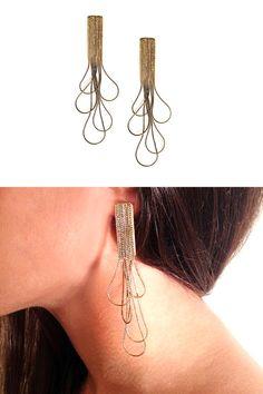 Golden Drop Chandelier Earrings Dangle Bride by MERCeJewelry