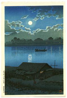 Moon over the Ara River at Akabane, by Kawase Hasui, 1929