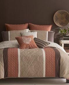 Bryan Keith Bedding, Palisades 9 Piece Queen Reversible Comforter Set - Bed in a Bag - Bed & Bath - Macy's Guess room! Brown Comforter, Comforter Sets, Floral Comforter, Brown Bedroom Decor, Bedroom Colors, Console, Bedroom Furniture Sets, Trendy Bedroom, Comforters