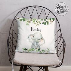 Personalized Elephant Pillow, Elephant Cushion, Elephant Gifts, Custom Name Pillow, Elephant Nursery Decor, Elephant Baby Shower Gift, Boy