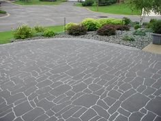 Pavement coatings and accessories designed to beautify and extend the life of pedestrian and vehicular areas, playgrounds, plazas, streetscapes, and more. Driveway Fence, Asphalt Driveway, Asphalt Road, Driveway Landscaping, Driveway Ideas, Stamped Concrete, Pavement, Curb Appeal, Slate